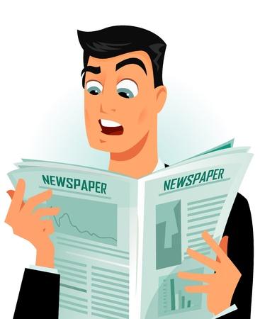 Mann lesen einige schockierende Nachricht Standard-Bild - 8900184