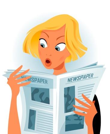 panique: femme lisant quelques nouvelles choquantes