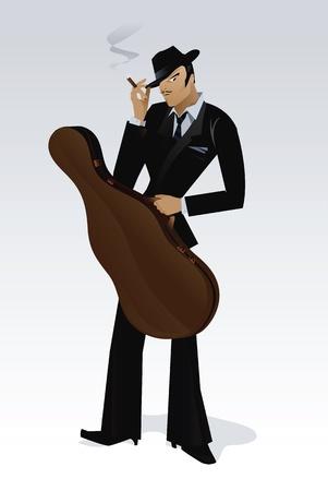 Retro man with bass case