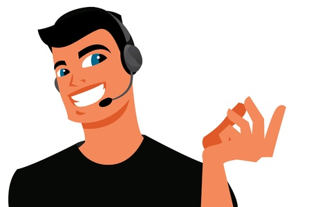 face with headset: Call center operator Illustration