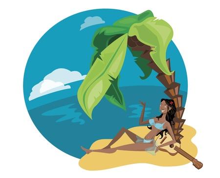 maldives island: Woman in holidays Illustration