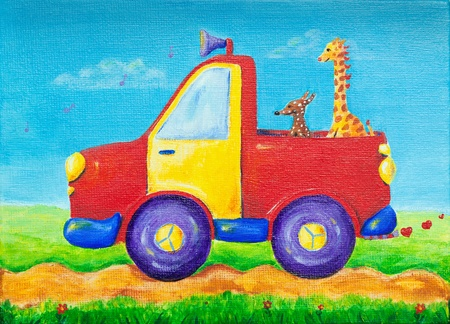 Colorful and creative childrens painting of a dog and a giraffe riding in a red pick up truck. photo