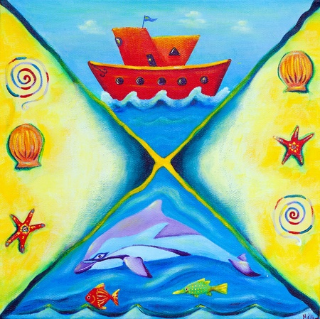 Colorful and vibrant children's painting with an ocean theme