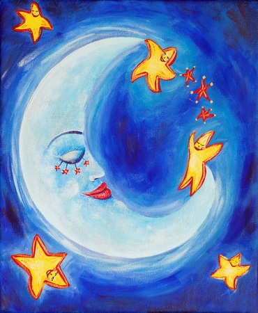 Beautiful and vibrant children's painting of a sleeping moon surrounding by happy dancing stars Standard-Bild