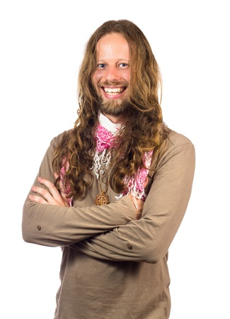 60s hippie: Handsome and happy man dressed like a hippie  Isolated on white  Stock Photo