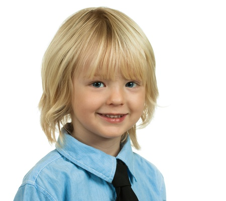 blond boy: Portrait of a well-dressed and handsome young boy isolated on white