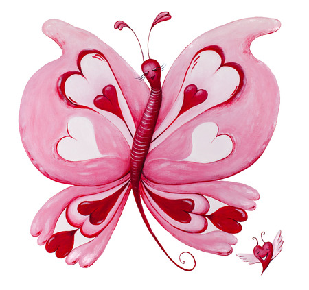 Beautiful red loveheart butterfly and flying heart painting. Isolated on white. photo