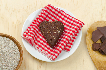 loveheart: Homemade healthy dark chocolate chia seed gluten free loveheart cookie with ingredients