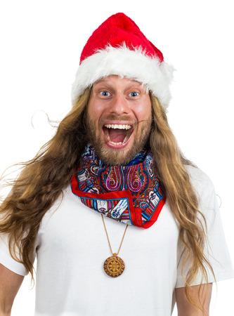 Silly retro hippie Santa yelling Wow isolated on white Standard-Bild