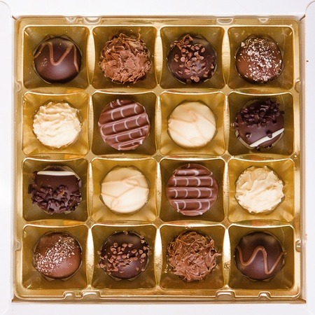 A square box of chocoloates photo