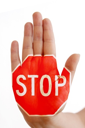hand with sign stop, concept stop violence  abuse photo