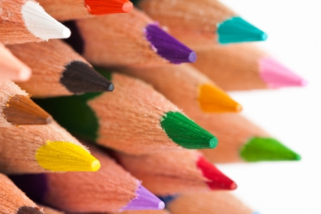 Tips of many colorful crayons Stock Photo - 16365925