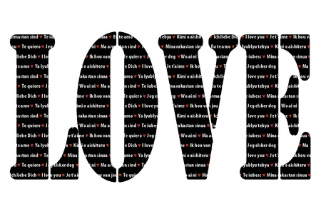 Word love as a shape filled with the phrase 'I love you' in different languages photo