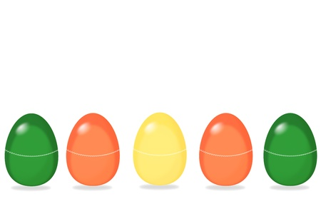 five eastereggs with small pattern in a row, room for text Stock Photo - 18219402