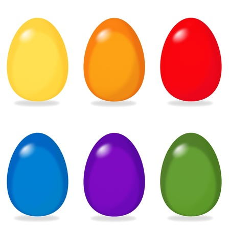six simple easter eggs in yellow, orange, red, blue, purple and green Stock Photo - 19481350