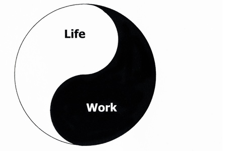 Ying Yang symbol with life and work written into it, symbolizing work-life balance Stock Photo - 20259386