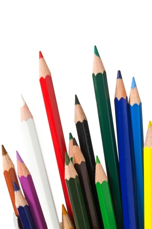 many colored pencils before white background photo