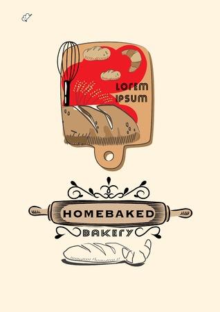 wood board: bakery tools scene on wood board and bakery logo