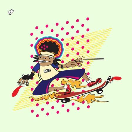 80s: 80s skateboard cartoon character Illustration