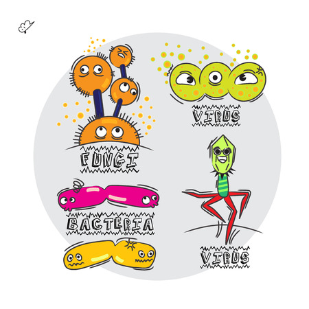 fungi: germs character collection Illustration