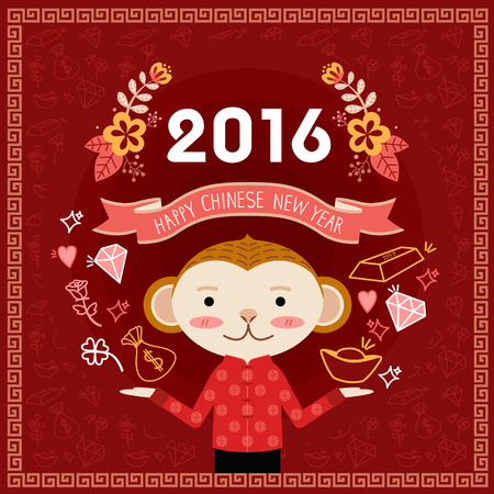 conjure: Chinese new year greeting card for the year of monkey 2016 with monkey character conjure up gold, money, love hearts and rose, good luck four leaf clover.