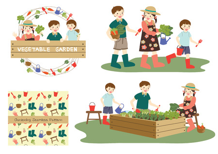bucket and spade: Three cute young Asian children boys and girl smiling happily walking with vegetables and gardening tools, growing vegetable garden, seamless pattern, children holding wooden sign with circle border.