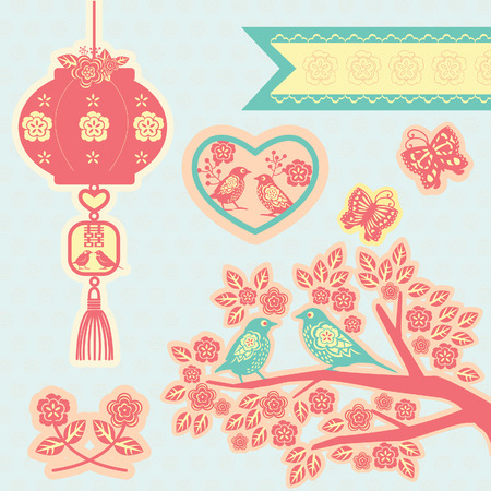branch cut: Chinese paper cut style elements for wedding. Birds and Chinese wedding symbol hanging from a lantern. Two birds and flower in a heart. Tree branch with birds, flowers, butterflies and label.