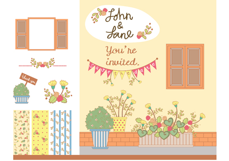 Elements for wedding invitation cards or wedding decorations. Flower and Plants in flower pot in front of facade of a building with window.