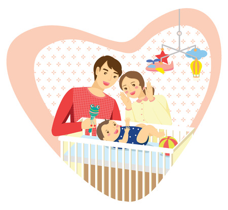 lying in: Family with baby in heart shape frame with patterned background. Mommy playing peekaboo with baby boy lying in a cot. Daddy holding baby rattle.