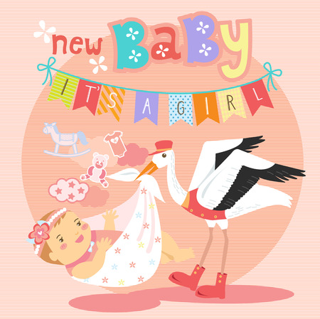 baby delivery: Stork holding blanket package of a cute baby girl for delivery with toys and cloud in the background.