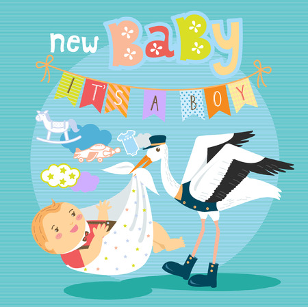 baby delivery: Stork with cute baby boy wrapped on blanket package for delivery with toys and cloud in the background.