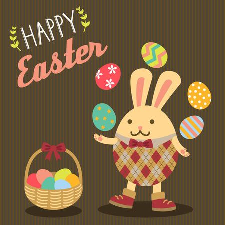 huevos de pascua: Huevos de Pascua feliz del conejito de Pascua malabares con la cesta al lado de �l. Vectores