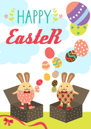 Happy easter bunnies standing in unwrapped present boxes conjuring easter eggs.