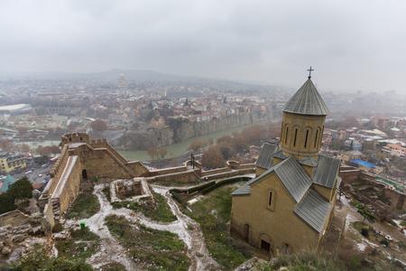 Christian church in Narikala Castle. Tbilisi, Georgia Stock Photo