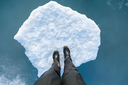 floe: Human leg on a floating ice floe