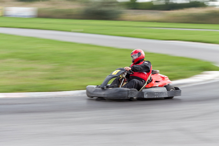 carting: The racer on carting. Races on cartings. Cars races.