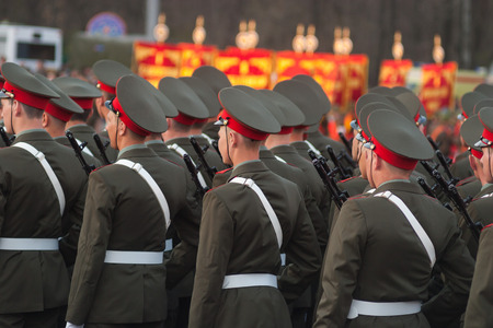 procession: Creation of soldiers. Procession of soldiers. Squad of soldiers. Military parade. Russian army. Russian soldiers.