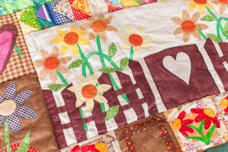 Patchwork Quilt . Teil der Patchwork Decke als Hintergrund . Handarbeit