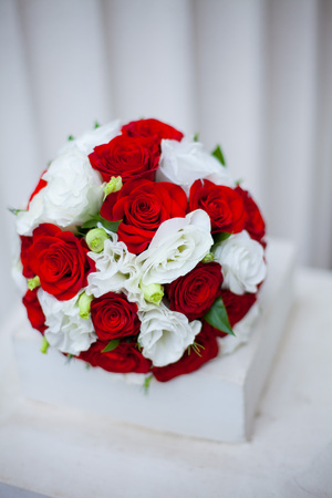 Bouquet from purpule rose. Wedding bouquet. Stock Photo