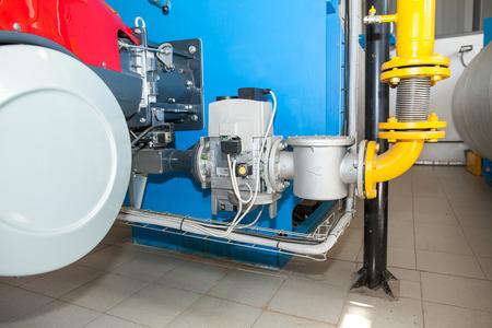 Modern boiler room equipment- high power boiler burner. Water heating. Power water supply. energy efficient production.