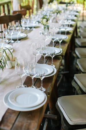 glasses on the festive table setting wedding table decor table