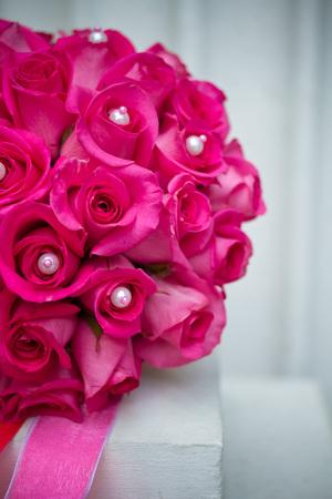 Flower composition. flower background. beautiful wedding bouquet of fresh purple roses. Wedding concept.