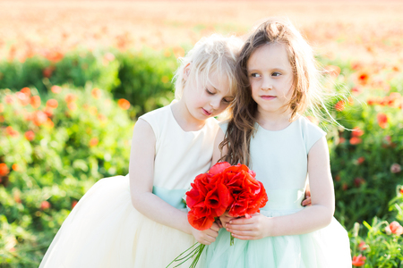little girl model, childhood, fashion, summer concept - romantic hug of the two beautiful little girls in white and blue dresses on the field of poppies, in the hands of each is a bouquet of red poppy Stock Photo