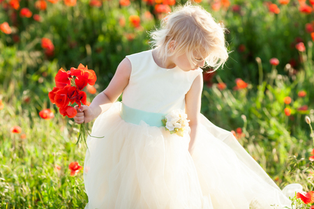 kids fashion, small girl, spring, wedding, happy childhood concept - lovely little blond kid wearing white dress with bouquet of flowers in the poppy field