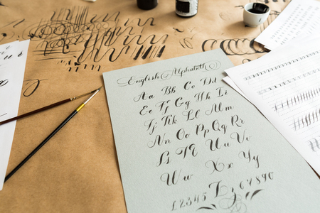 Calligraphy handwriting technique concept woman with beautiful