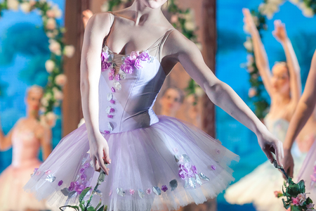 choreography, fashion, costume concept. female dancer, dressed in tutu and leotard in light lilac shades decorated with fabric roses and leaves, spinning with flowers Stock Photo