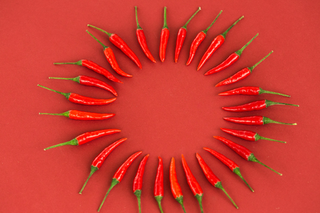 red hot chili peppers, popular spices concept - art decoration by hot chili peppers pod, still life circle composition on red background, top view, flat lay, free space for text