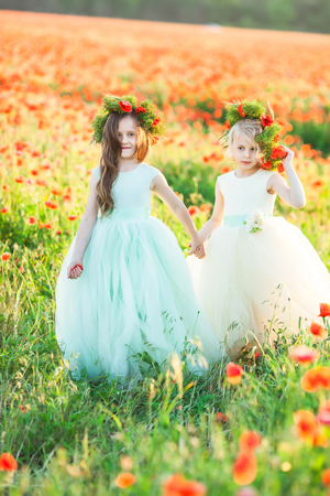 friendship, family, relationships, freedom concept - the elder girl with beautiful flowing hair and floral wreath on head leading her cousin in white dress by her hand in the poppy field Stock Photo