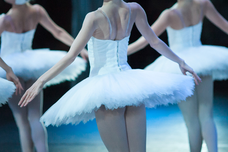 dream, dance, dramatic art cocnept. few young and graceful ballerinas in white dress like in feathers are waving their hands as though they want to tale off and fly