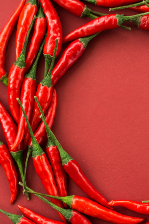 red hot chili peppers, popular spices concept - colorful semicircle composition by hot chili pepper pods on red background, top view, flat lay, free space for text, vertical